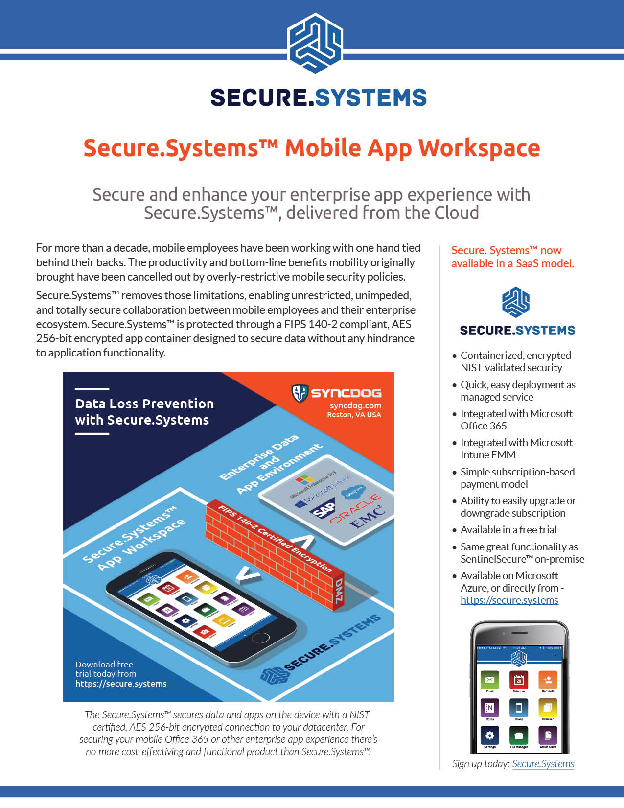 Secure.Systems Mobile App Work space